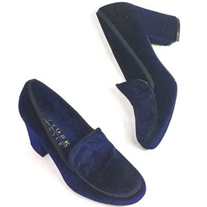 Blue Velvet Loafer Style Pumps NWOB
